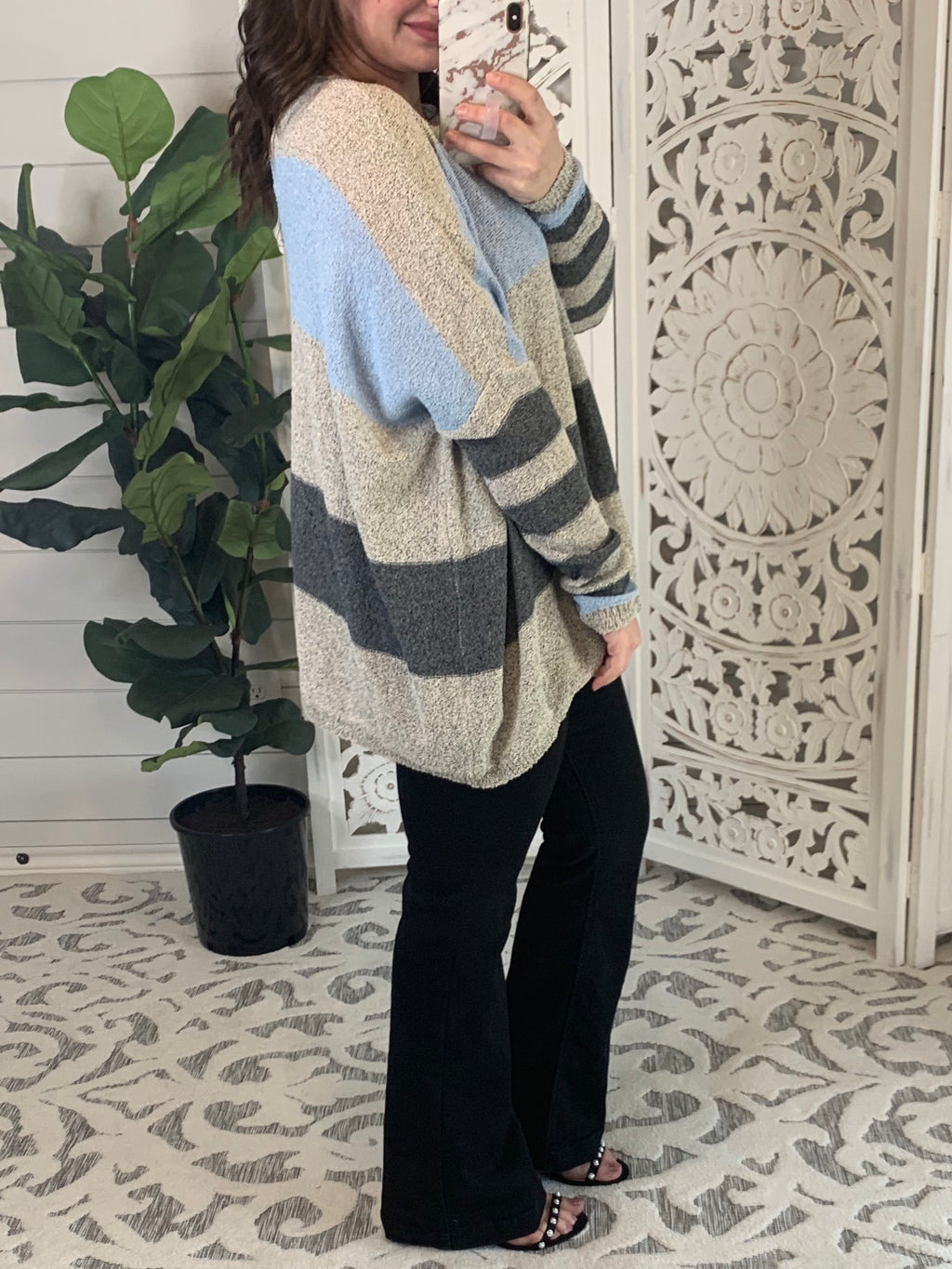 Blue and Gray Striped Easel Sweater