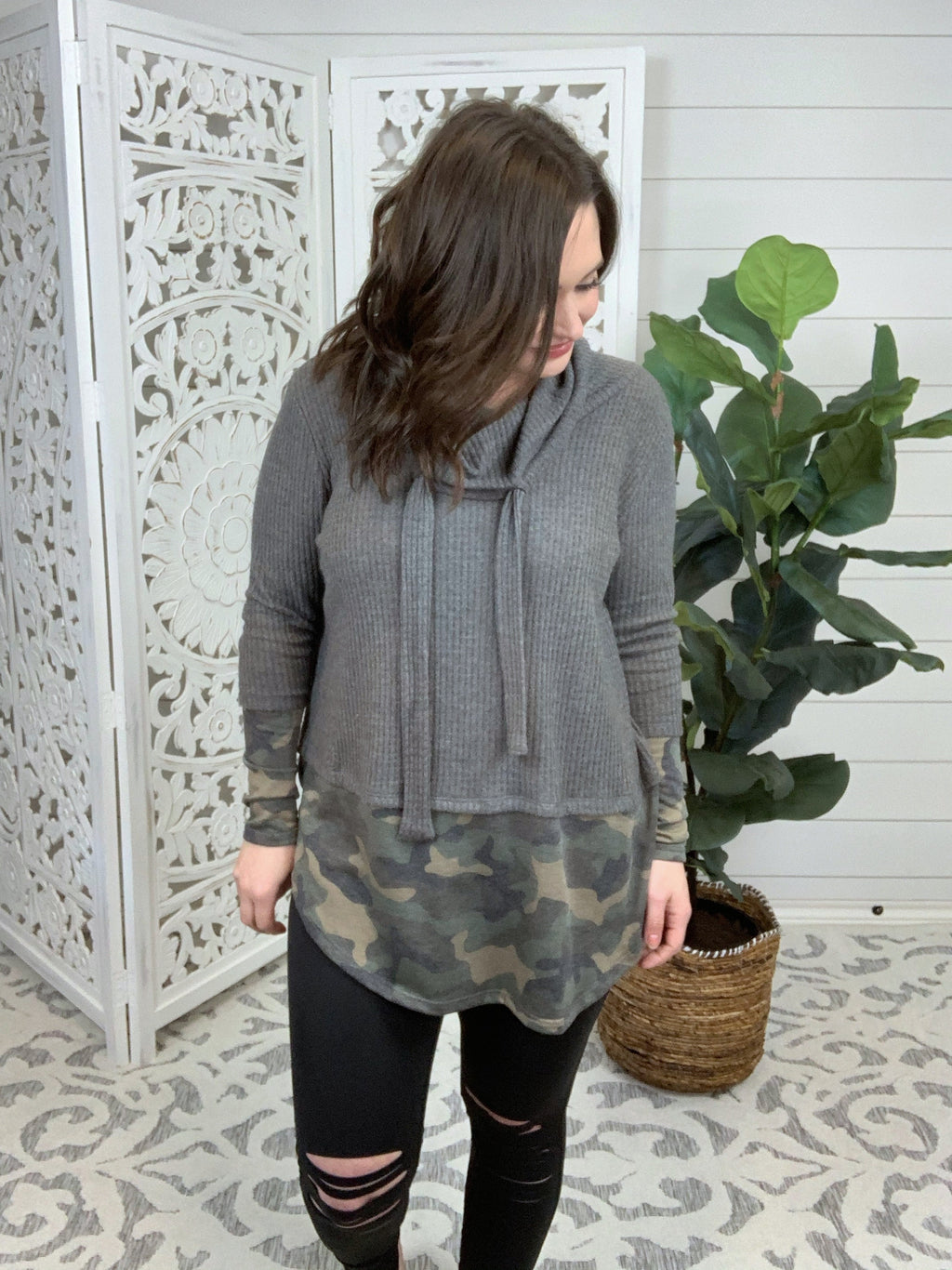 Camo Thermal Knit Cowl Sweater