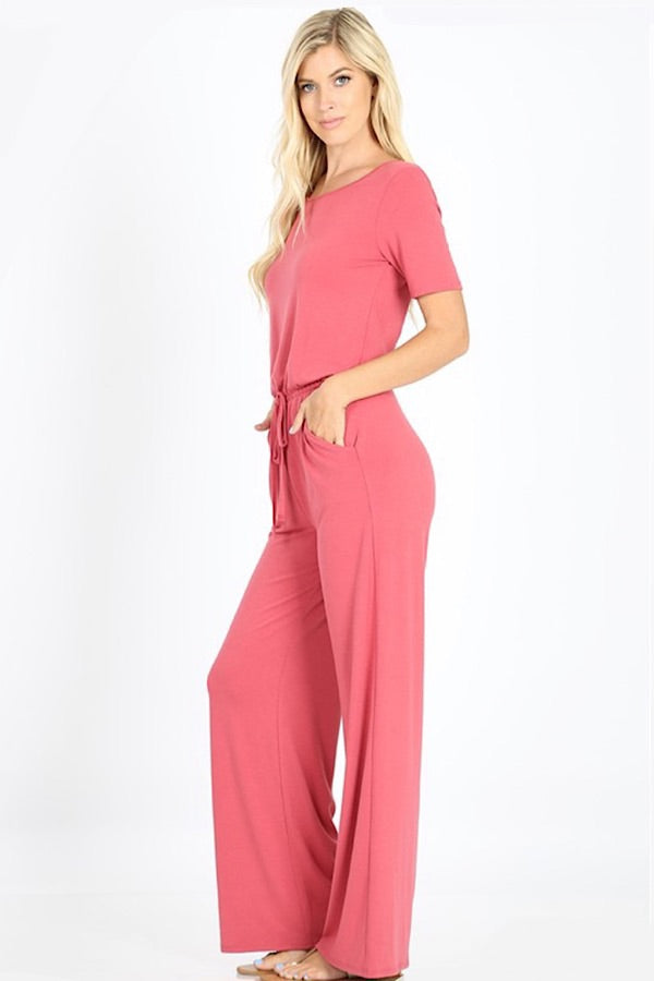 Ready For Anything Jumpsuit - Dusty Rose