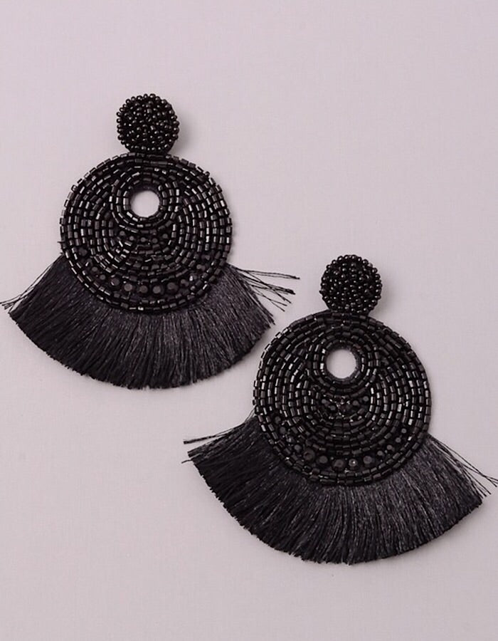 Jolene Beaded Fringe Earrings - Multiple Colors