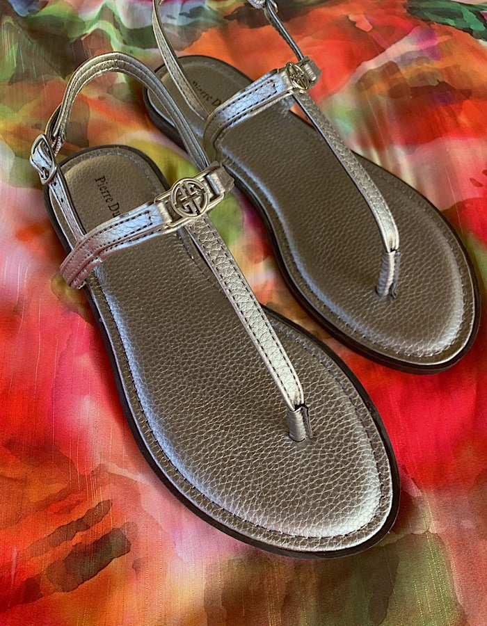 Emma Flat Thong Sandals - Pewter