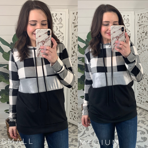 Black and White Plaid Sequin Color Block Hoodie