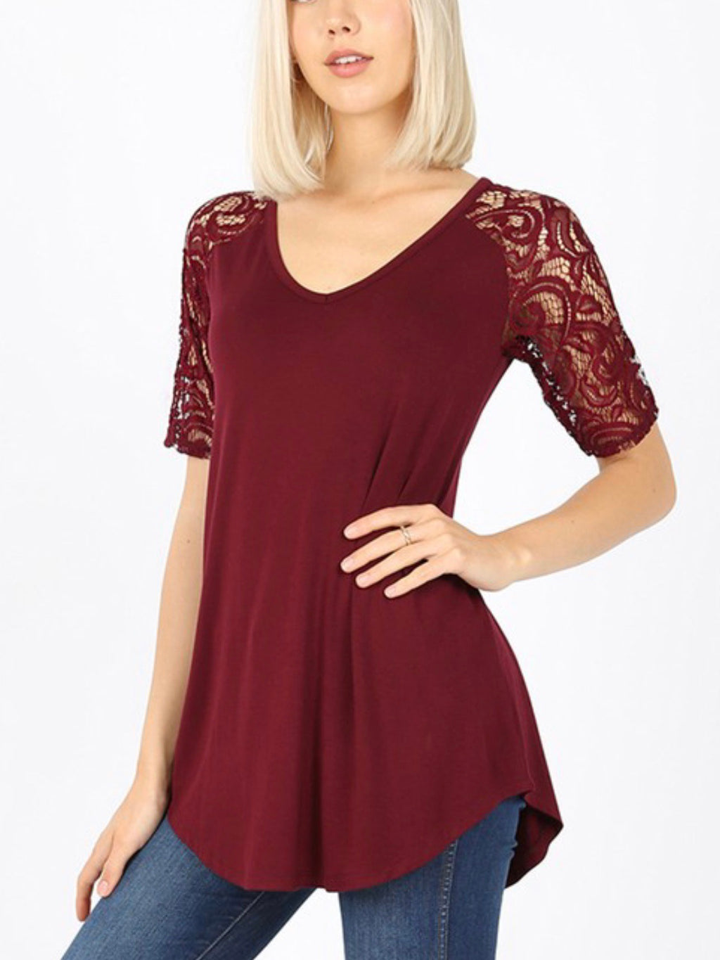 Luxe Lacey Short Sleeve Vneck Top