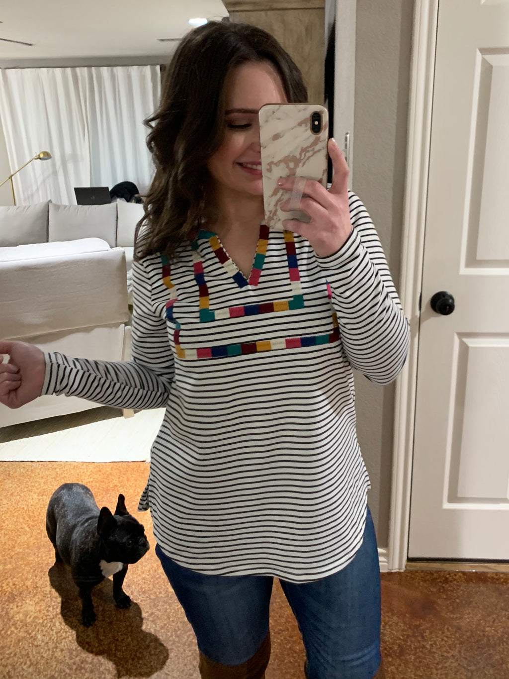 Jonah Embroidered Stripe Top