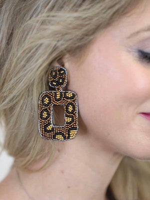 Jess Lea Lightweight Beaded Leopard Earrings