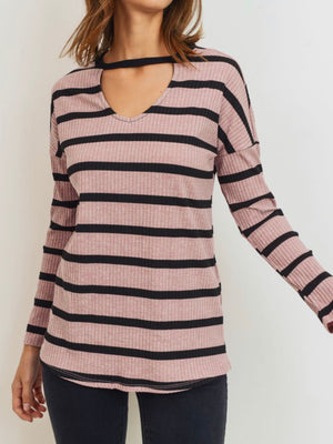 Striped Ribbed Knit Choker Long Sleeve Top