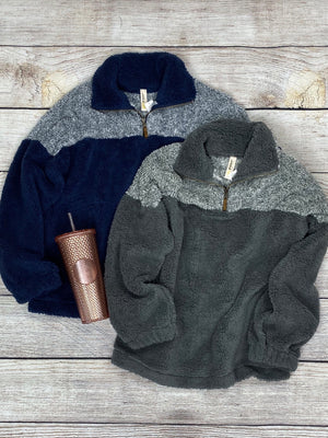 Two Tone Sherpa Quarter Zip Pullover