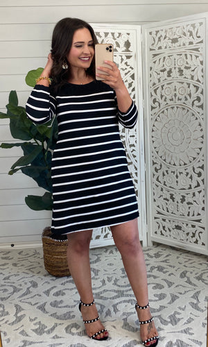 Blissfully Striped Dress - Black
