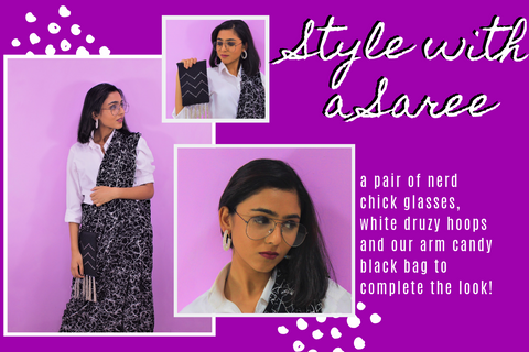 White Shirt with a Saree Styling Tips