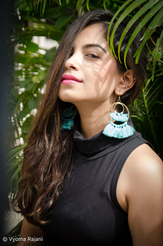 Feathery Skies Blue Tassel Earrings