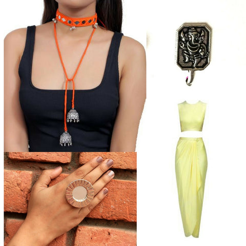 Gypsy from Prague choker, Ganpati nosering and Aaina finger ring.