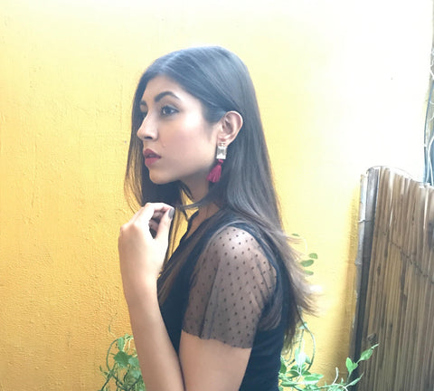 Upalina Gupta in Long Tassels Earing