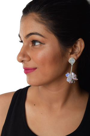 Sequin Flowers- White - Sequin Stud Floral Earrings