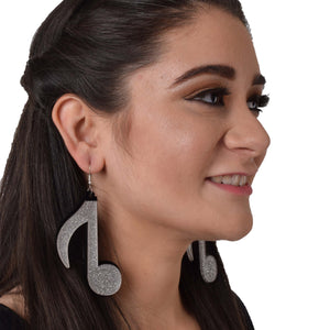 High Notes - Glitter - Acrylic Music Notes Earrings