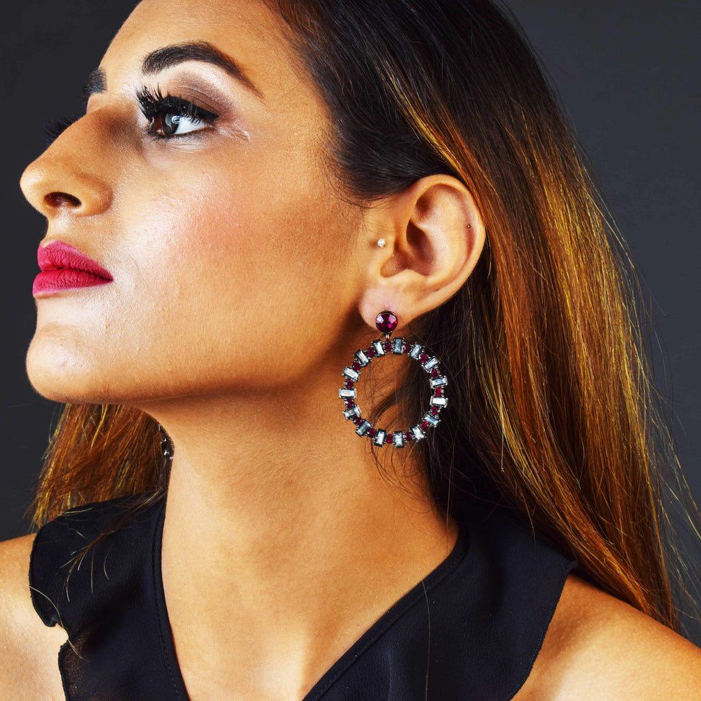 Fine Wine - Stone Hoops Earrings