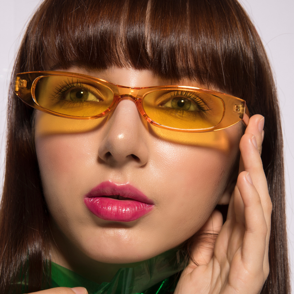Slim Jim - Yellow - Funky Sleek Rectangular Sunglasses