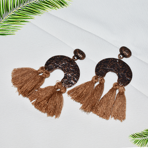Hazel - Brown Tassel Earrings