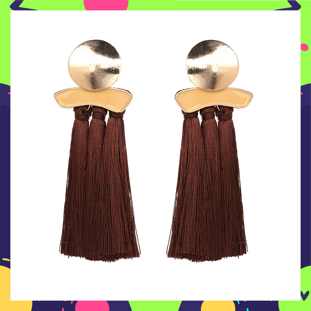 Choco Bite - Brown Tassel Earrings