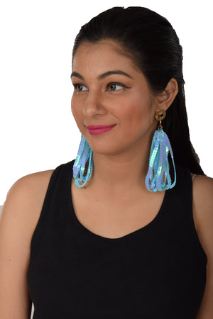 Sequin Strands- Blue - Long Interlinked Sequin Dangle Earrings