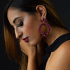 Pink Lady - Magenta Hoop Earrings With Crystal Flowers