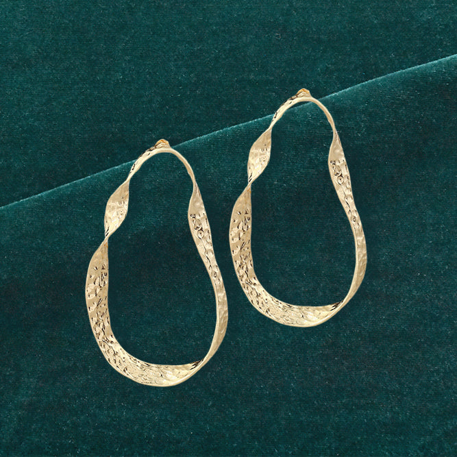 Scotch Hoops - golden metal Twisted Hoop Earrings