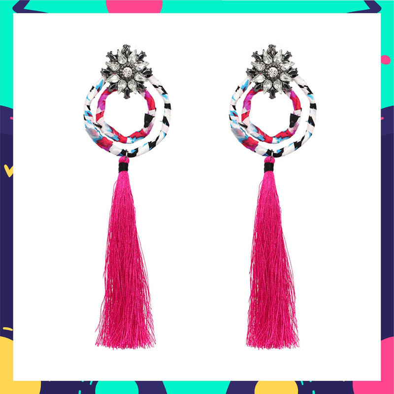 Blooming Dahlias - Hot Pink - Circular Stud Earrings with Pink Tassels