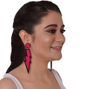 Pink Lightening - Quirky Acrylic Earrings