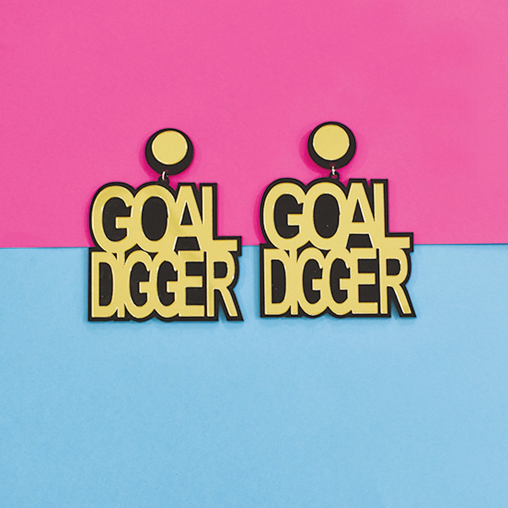 Ashwini Dixit In Knick Knack Nook Goal Digger Earrings - Golden Acrylic Goal Digger Statement Earrings