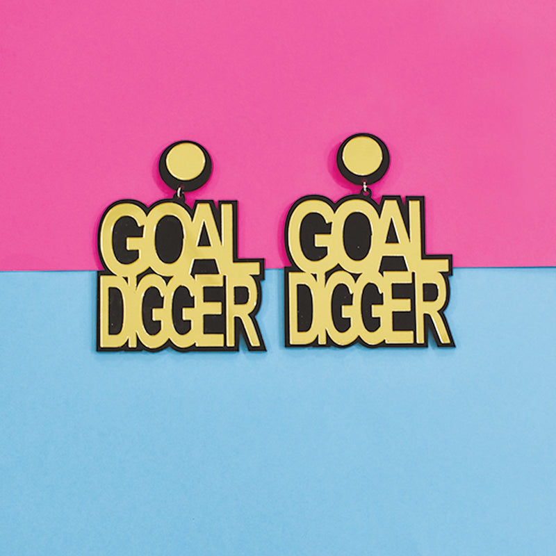 Ashwini's Goal Digger - Golden Acrylic Goal Digger Statement Earrings