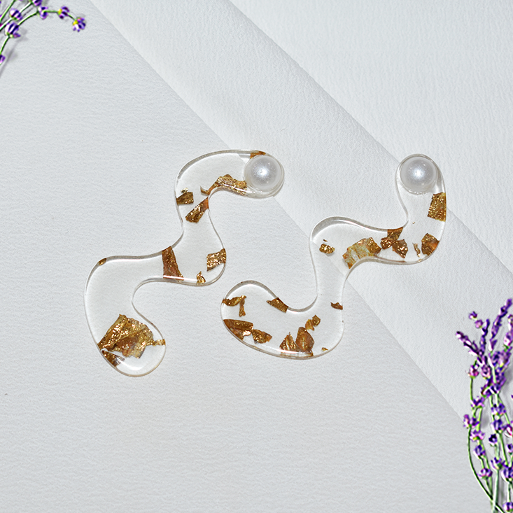 Gold Specks - Speckled Acrylic Stud Earrings