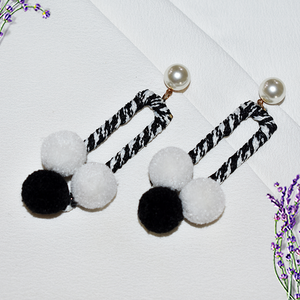 Nichole - Black and White Rectangular Earrings With Pearl and Fur Balls