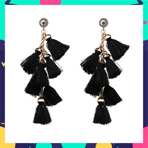Cascades - Coal- Black Dangle Tassel Earrings