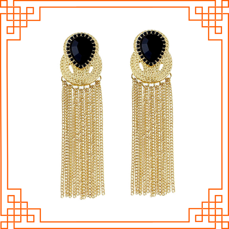 Valencia - Black Stone And Golden Metal Tassel Earrings