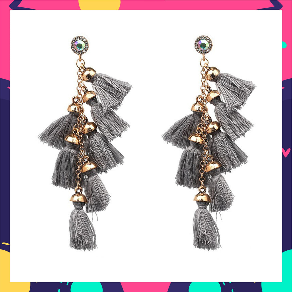 Cascades - Smoke - Grey Dangle Tassel Earrings