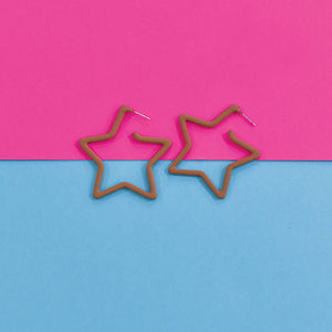 Superstar - Brown - Metal Star Earrings