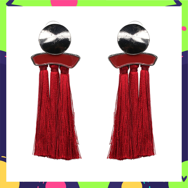 Steel & Scarlet - Red Tassel Earrings