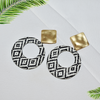 Golden Cane - Circular Black and White Earrings