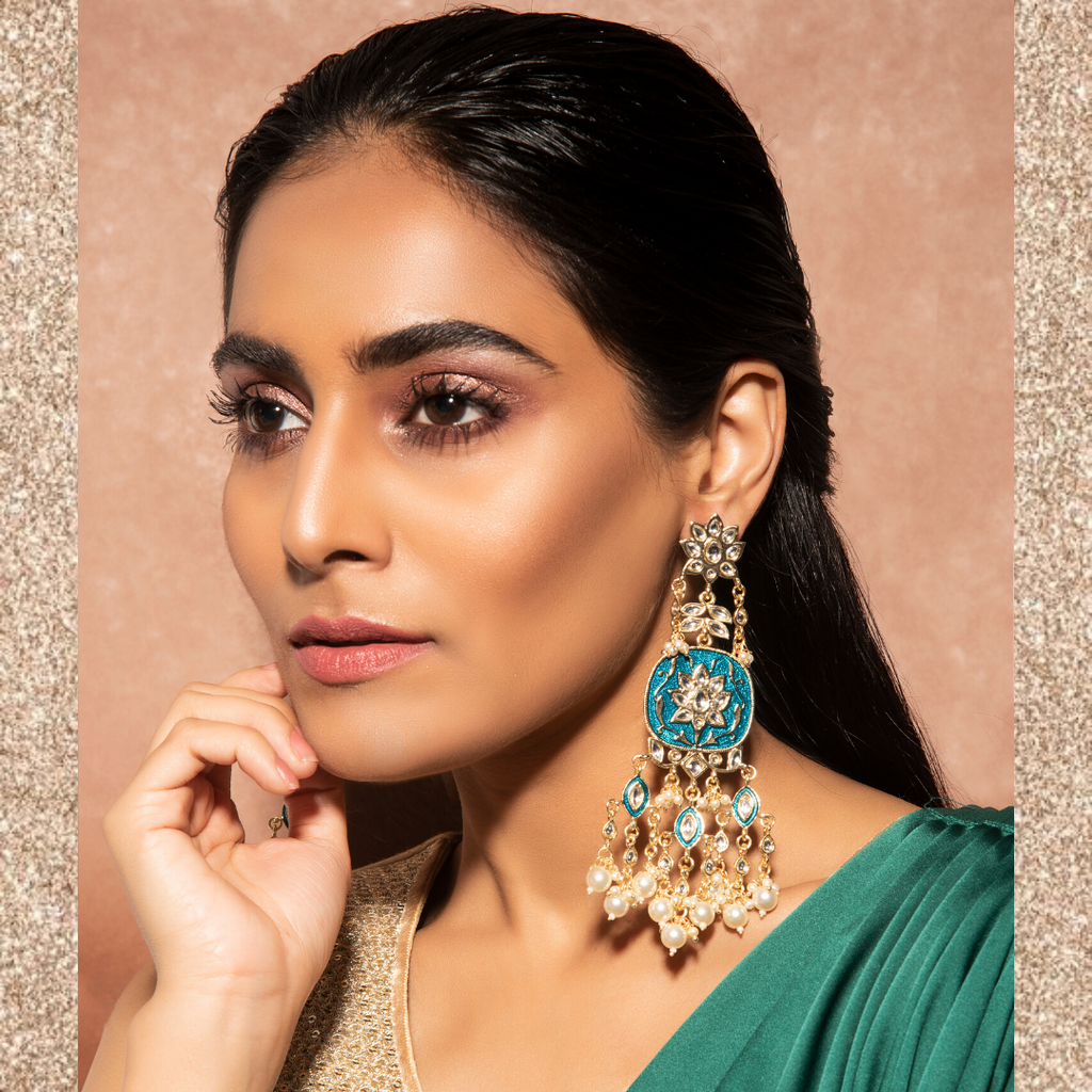 Kalindi Earrings - Long Indian Beaded Earrings
