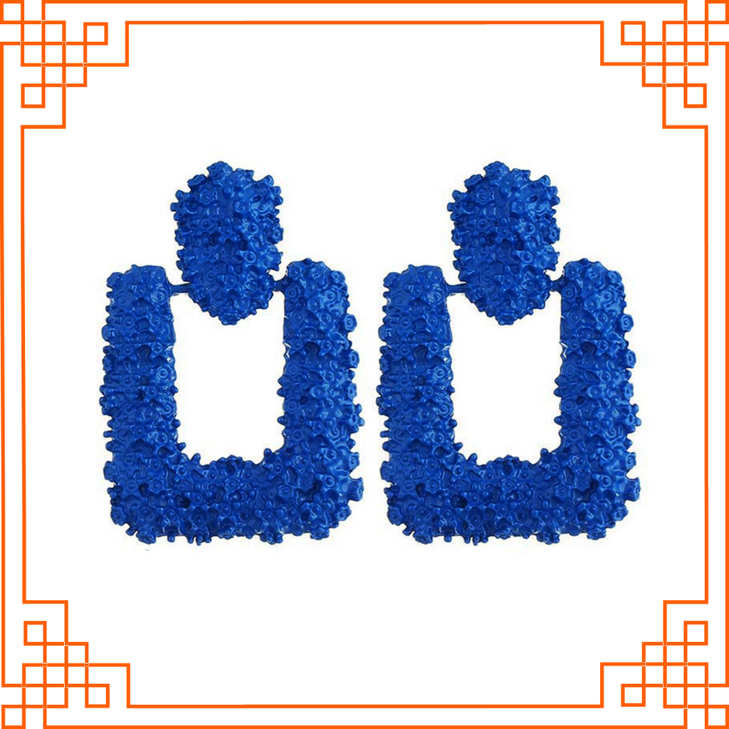 Crinkles Blue - Square Stud Earrings
