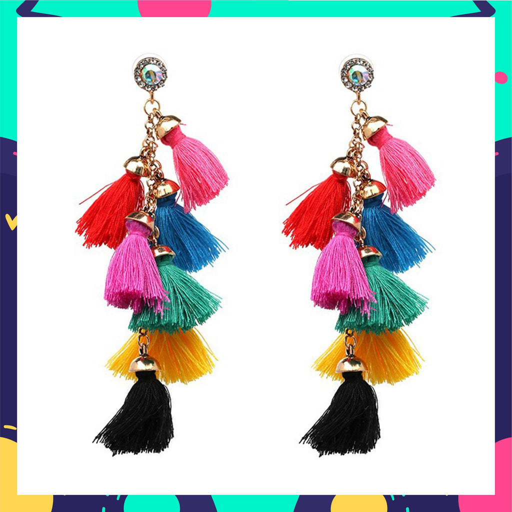 Cascades - Confetti - Multicoloured Tassel Earrings