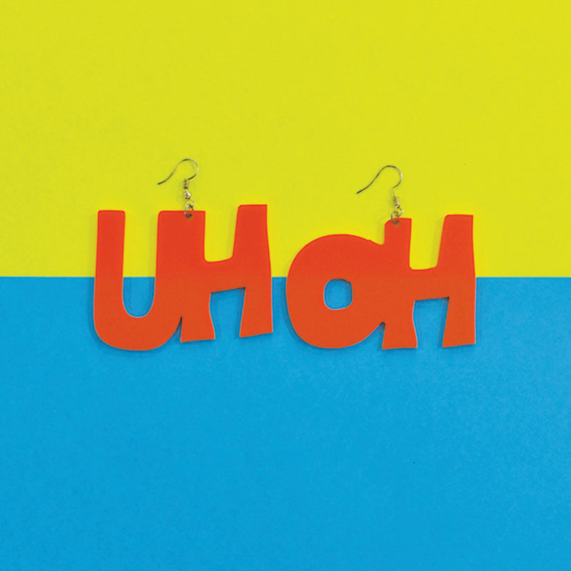 Uh Oh! - Orange - Acrylic Earrings
