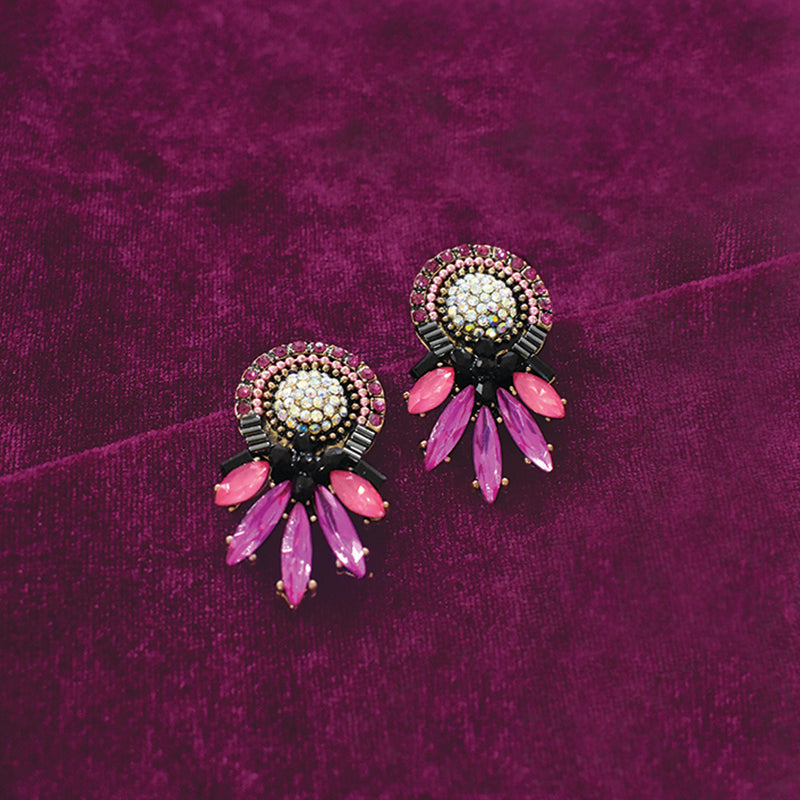 High Spirits - Multicoloured Studded Stones and Crystal Earrings