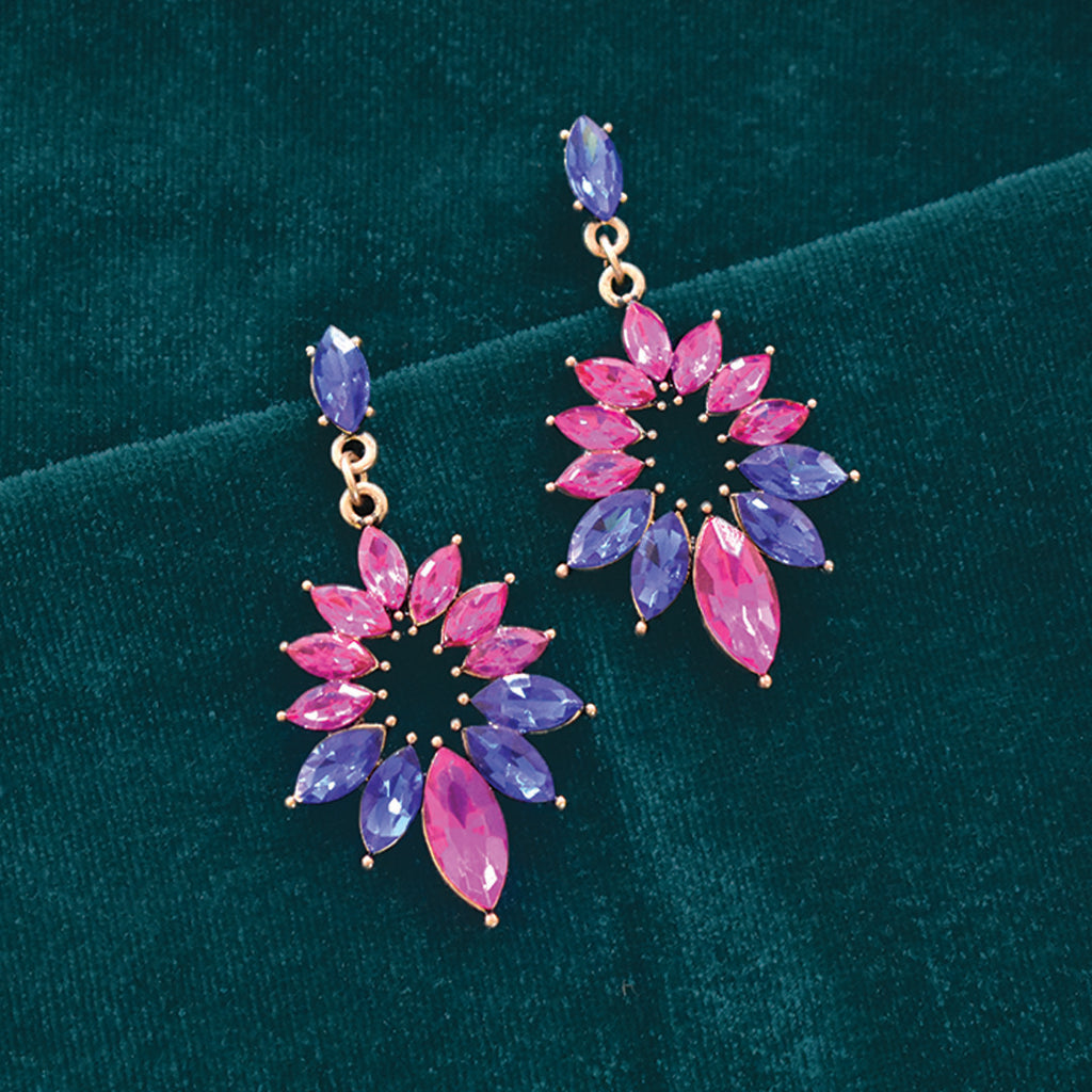 Strawberry Daiquiri - Pink and Blue Crystal Earrings
