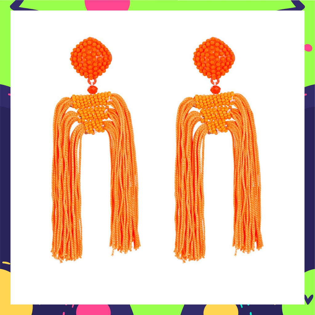 Rubina Dilaik In Knick Knack Nook Tropical Orange Earrings - Long Tassel Beaded Statement Earrings