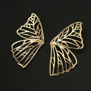 Butterfly Wings - Dainty Golden Metal Wing Earrings