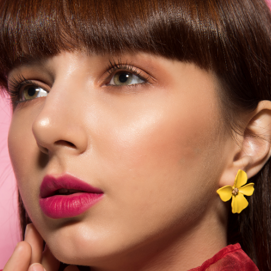 Floralina- Yellow - Dainty Metal Floral Earrings