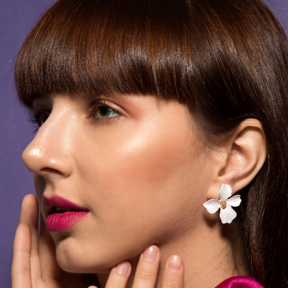 Floralina- White - Dainty Metal Floral Earrings