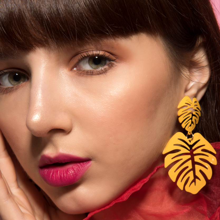 Hot Tropics- Yellow - Dainty Metal Leaf Earrings