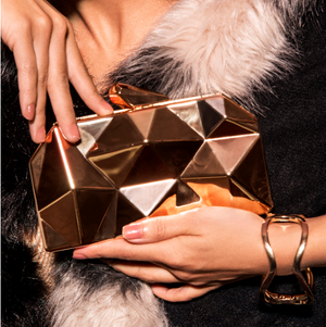 Aurum Clutch - Golden Geometric Metallic Clutch Bag