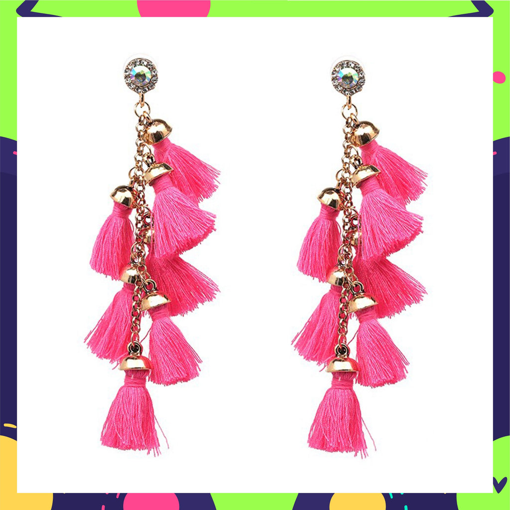 Cascades - Candyfloss - Pink Dangle Tassel Earrings